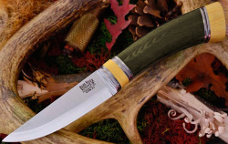 Нож охотничий BARK RIVER Scandi Green Linen Micarta Ivory Spacer