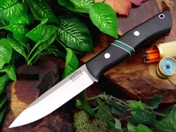 Нож охотничий BARK RIVER Aurora Black Canvas Micarta - Jade Malachite Spacer .